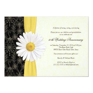 """Daisy Black Yellow, Ivory Anniversary Invitation 5"""" X 7"""" Invitation Card"""