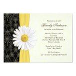 Daisy Black Yellow, Ivory Retirement Invitation