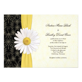 Daisy Black Yellow, Ivory Wedding Invitation