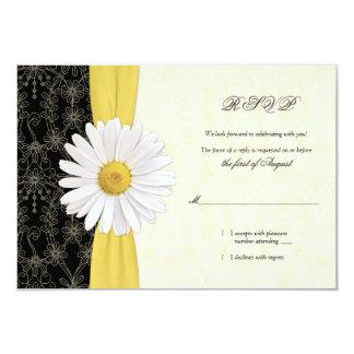 Daisy Black Yellow, Ivory Wedding Reply Card