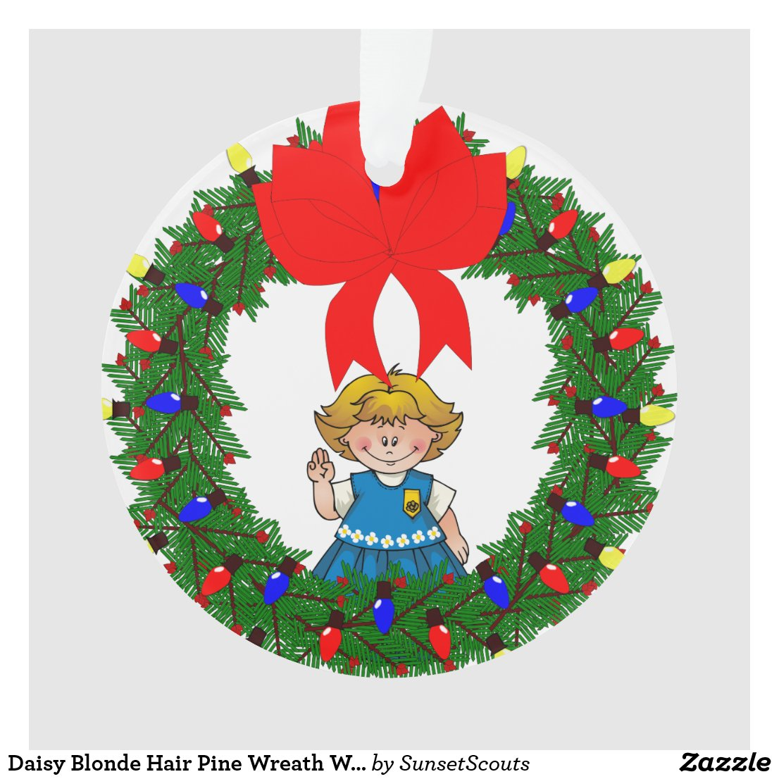 Daisy Blonde Hair Pine Wreath With Bow Ornament