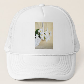 Daisy Blossoms Flowers and Wicker Basket Trucker Hat
