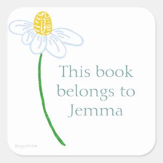 Daisy bookplate square sticker