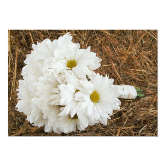 "Daisy Bouquet & Hay - Country / Barn Wedding 5"" X 7"" Invitation Card"