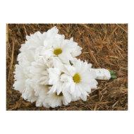 Daisy Bouquet & Hay - Country Wedding Invitation