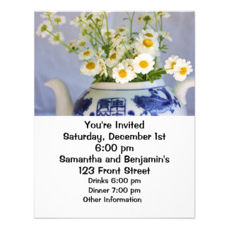 Daisy Bouquet in a Teapot Personalized Announcement