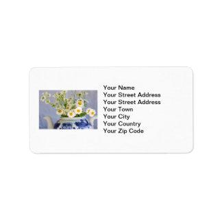 Daisy Bouquet in a Teapot Custom Address Label
