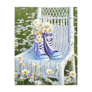 daisy bouquet in purple sneakers canvas print