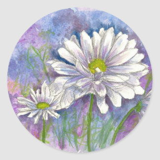 Daisy Bouquet Painting Classic Round Sticker