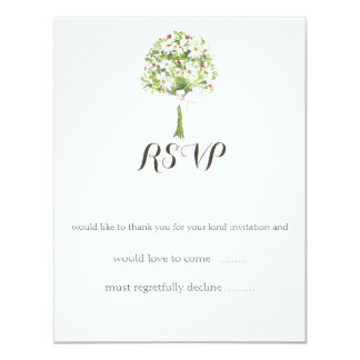 Daisy Bouquet White Wedding Reply Card