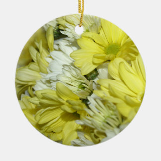 Daisy Bouquets Double-Sided Ceramic Round Christmas Ornament