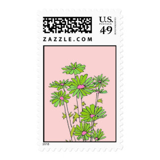 daisy bunch green pink postage stamps