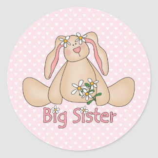 Daisy Bunny Big Sister Classic Round Sticker