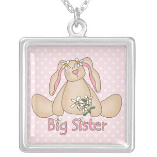 Daisy Bunny Big Sister Square Pendant Necklace