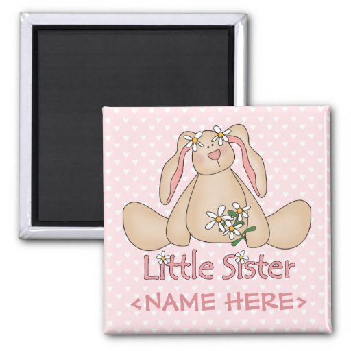 Daisy Bunny Little Sister 2 Inch Square Magnet