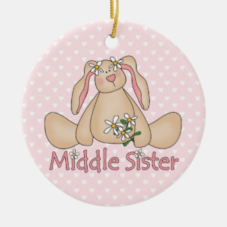 Daisy Bunny Middle Sister Ceramic Ornament