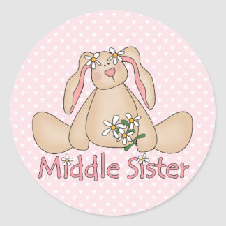 Daisy Bunny Middle Sister Classic Round Sticker