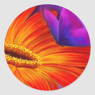 DAISY & BUTTERFLY ART PAINTING - MULTI CLASSIC ROUND STICKER