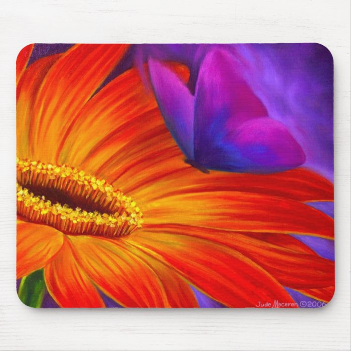 DAISY & BUTTERFLY ART PAINTING - MULTI MOUSE PAD