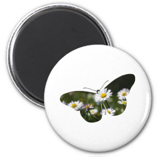 Daisy Butterfly Collage 2 Inch Round Magnet