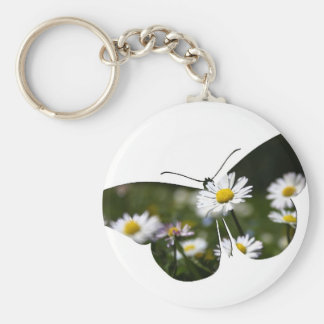 Daisy Butterfly Collage Keychain