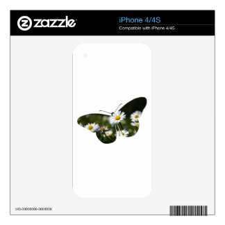 Daisy Butterfly Collage Skin For iPhone 4S