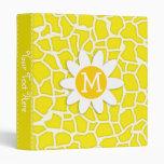 Daisy; Canary Yellow Giraffe Animal Print Binder