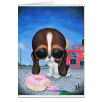 sugar, fueled, michael, banks, pity, puppy, dog, basset, hound, cute, creepy, adorable, snuggly, animal, donut, sprinkles, sweet, shop, sweets, candy, lowbrow, pop, surrealism, Card with custom graphic design