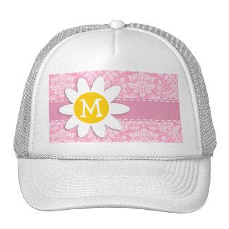Daisy; Carnation Pink Damask Pattern Trucker Hat