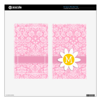 Daisy Carnation Pink Damask Pattern Decal For Kindle Fire