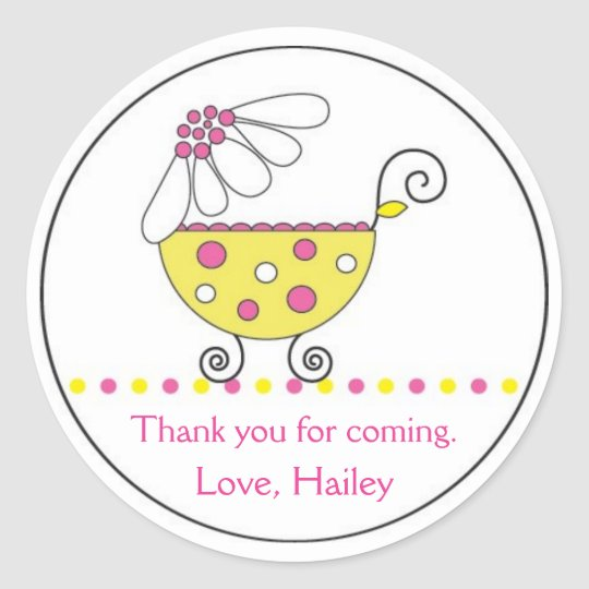 Daisy Carriage Baby Invitation or Favor Sticker