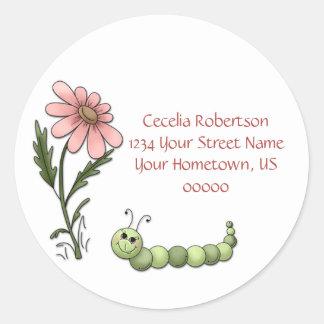 Daisy Caterpillar Address Label Round Sticker