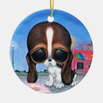 sugar, fueled, michael, banks, pity, puppy, dog, basset, hound, cute, creepy, adorable, snuggly, animal, donut, sprinkles, sweet, shop, sweets, candy, lowbrow, pop, surrealism, Ornament with custom graphic design
