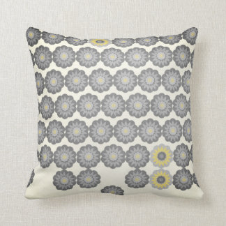 Daisy Chain in Grey and Yellow Throw Pillow