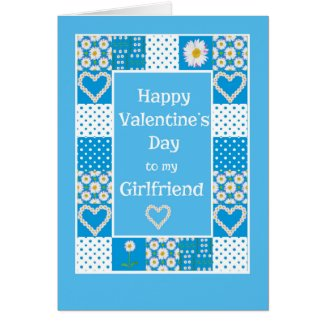 Daisy Chains Patchwork Valentine for a Girlfriend Card