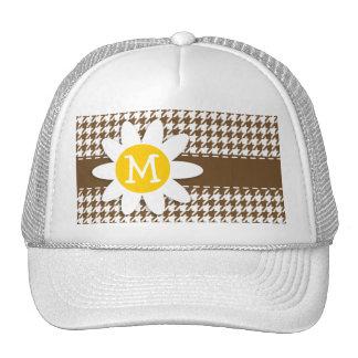 Daisy; Chocolate Brown Houndstooth Trucker Hat