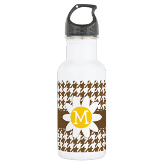Daisy; Chocolate Brown Houndstooth Water Bottle