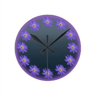 Daisy Clock Purple Daisies Blue Flower Wall Clock