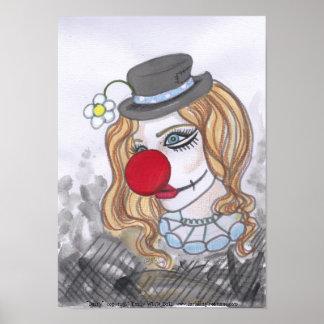 Daisy Clown Girl Portrait fantasy art poster print