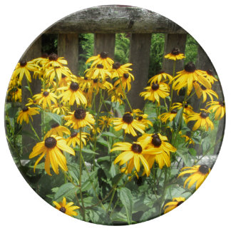 Daisy Cluster Weathered Fence Porcelain Plate