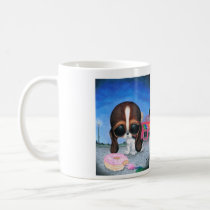 sugar, fueled, michael, banks, pity, puppy, dog, basset, hound, cute, creepy, adorable, snuggly, animal, donut, sprinkles, sweet, shop, sweets, candy, lowbrow, pop, surrealism, Mug with custom graphic design