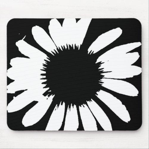 Daisy Crazy - Black & White Daisy Mouse Pad mousepad
