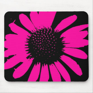Daisy Crazy Hot Pink & Black Mouse Pad