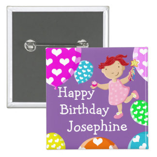 Daisy Cupcake And Balloons Happy Birthday Pinback Button