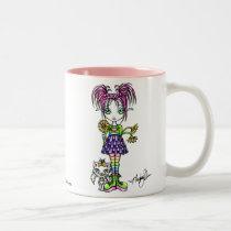 rainbow, cute, cat, pigtails, fantasy, art, myka, jelina, mug, flower, daisy, characters, Mug with custom graphic design
