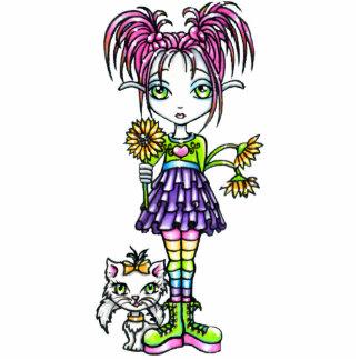 """Daisy"" Cute Flower Child & Kitty Photo Sculpture"