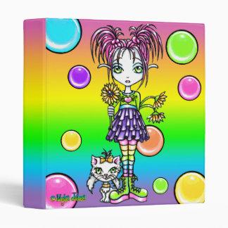 """Daisy"" Cute Rainbow Cat Flower Fae Art Binder"