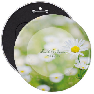 Daisy Daisies Flower Floral Summer Wedding Pinback Button