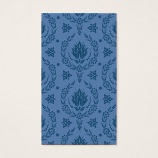 Daisy Damask, Bamboo in Shades of Blue Business Card