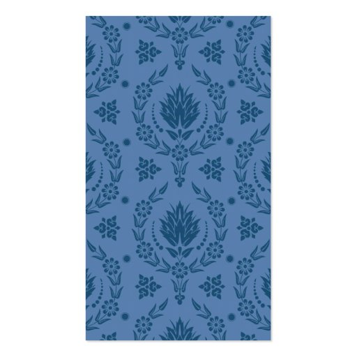 Daisy Damask, Bamboo in Shades of Blue Business Card Template